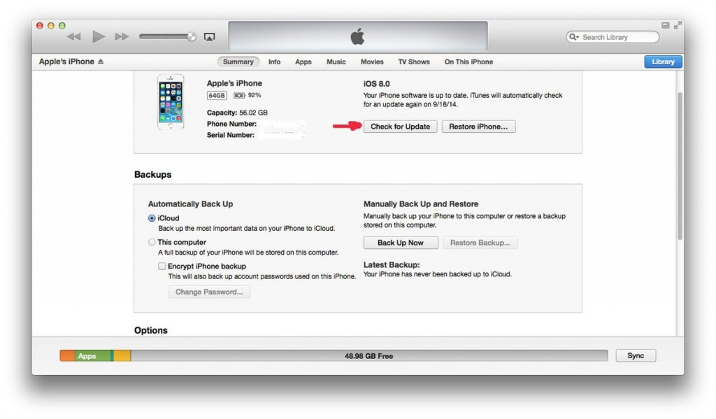 upgrading to iOS8 through iTunes