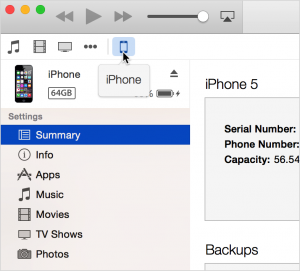 The Summary shows you information about your iPhone, such as storage capacity and software version