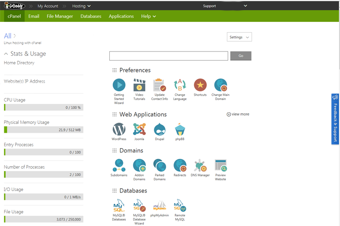 GoDaddy vs Network Solutions - GoDaddy user interface